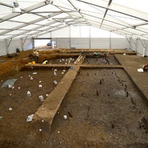 <div class='photo-title'>Must Farm excavation</div><div class='photo-desc'>The 2015 excavation area, every plastic bag is a post!</div>